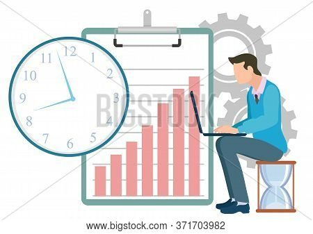 Person Working On Laptop Sitting On Hourglass Vector, Cogwheel And Clipboard With Infocharts Growing