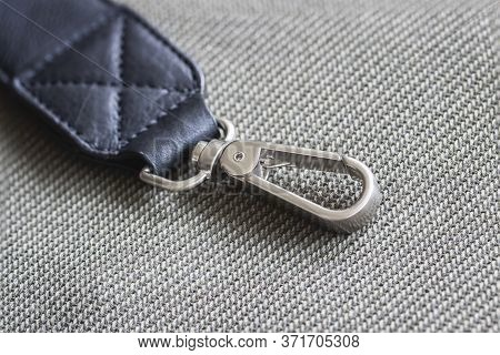 Metallic Buckle Of Male Handbag. Concept Of Shopping, Manufacturing, Lifestyle