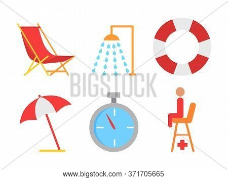 Beach Equipment Vector Icon In Cartoon Style. Shower And Lifebuoy, Sunbed And Open Umbrella, Stopwat