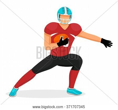American Football Player Stretching Before Game. Isolated Sportsman Holding Rugby Ball. Gridiron Hob
