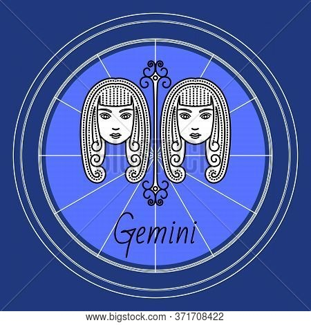 Gemini Astrological Sign Of Two Twin Girls. Astrology And Horoscope, Zodiac Symbol Of Mythological C