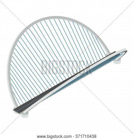 Futuristic Bridge Icon. Isometric Of Futuristic Bridge Vector Icon For Web Design Isolated On White