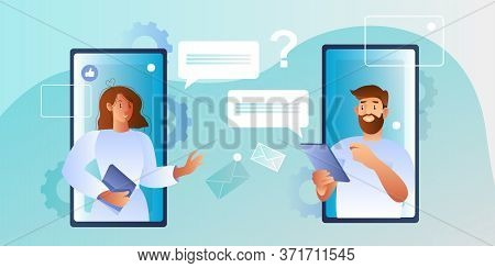 Recruitment Concept With Male Employer Interviewing Young Female Candidate Online. Vector Illustrati