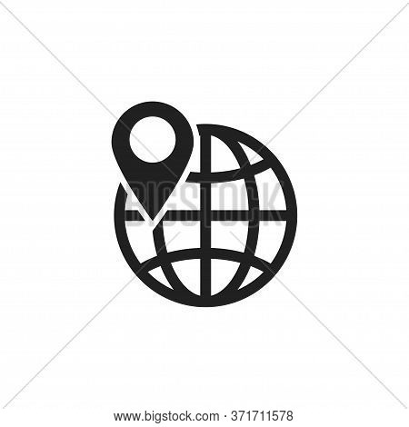 World And Location Pointer Icon In Modern Style. Isolated Vector Graphic