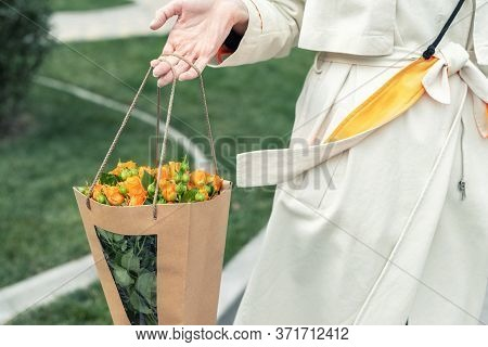 Close-up Young Adult Fashion Classy Woman Model Hand Holding Authentic Fresh Orange Spray Roses Flow