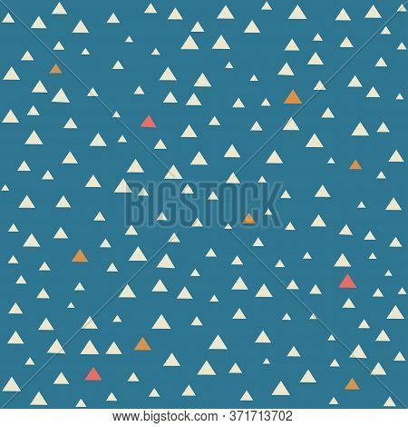 White, Yellow And Red Scattered Triangles Pattern On Blue Background