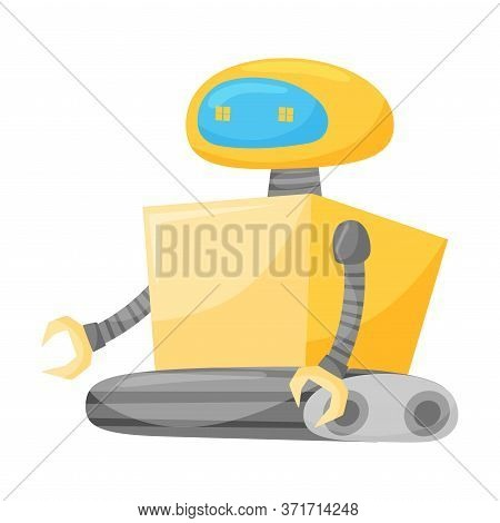 Metal Robot As Artificial Intelligence Or Futuristic Android Vector Illustration