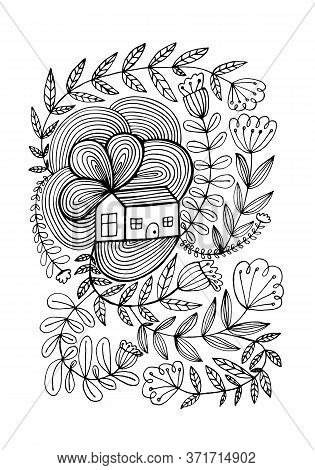 Small House Surrounded By Flowers. Hand Drawn Doodle Illustration. Relaxing Art Therapy. Simple Flor