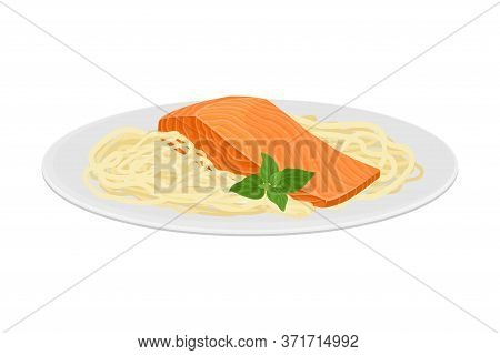 Salmon Piece With Spaghetti Served On Plate Vector Illustration