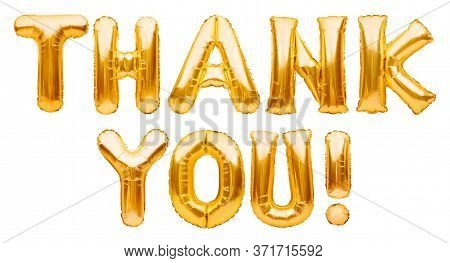 Words Thank You Made Of Golden Inflatable Balloons Isolated On White. Thank You Greeting Card, Gold