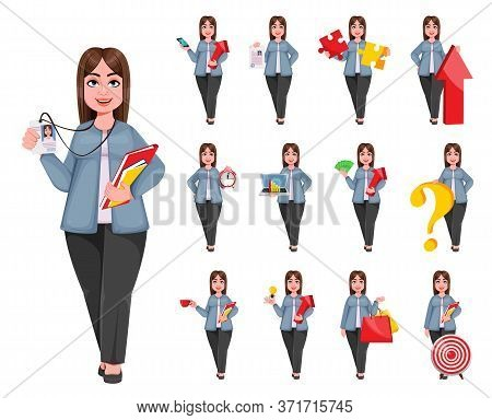 Happy Large Business Woman, Woman Of Plus Size, Set Of Thirteen Poses. Cheerful Chubby Businesswoman