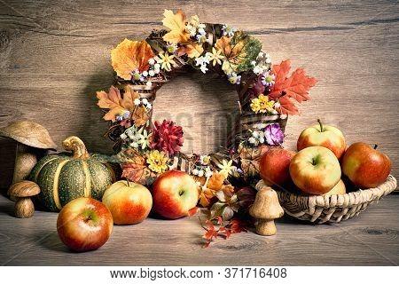 Autumn Rustic Decorations, Text Hello Autumn On A Blackboard. Natural Fall Thanksgiving Harvest. Aut