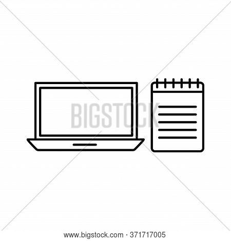 Laptop And Notebook Silhouette Style Icon Design, Education Online And Elearning Theme Vector Illust