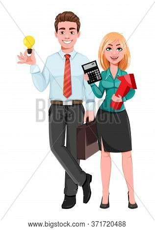 Successful Business Man And Business Woman. Handsome Businessman And Beautiful Businesswoman. Cheerf