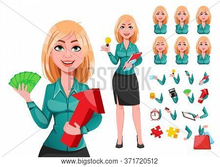 Young Successful Business Woman, Pack Of Body Parts, Emotions And Things. Beautiful Blond Businesswo