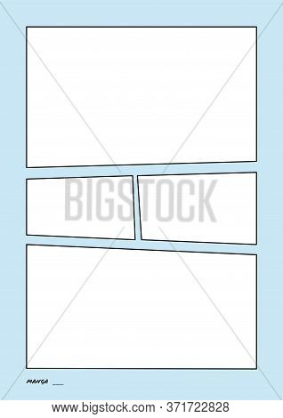 Manga Storyboard Layout Comic Book Template Blue