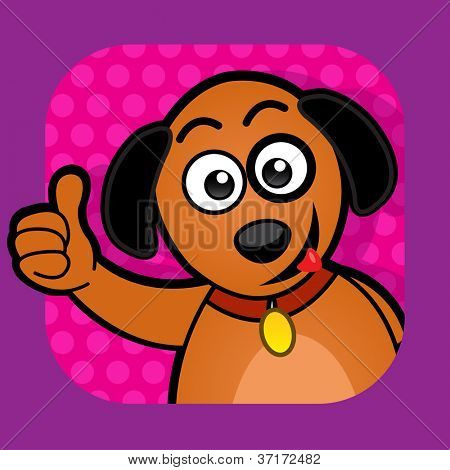 Dog approving Illustration with thumb up poster