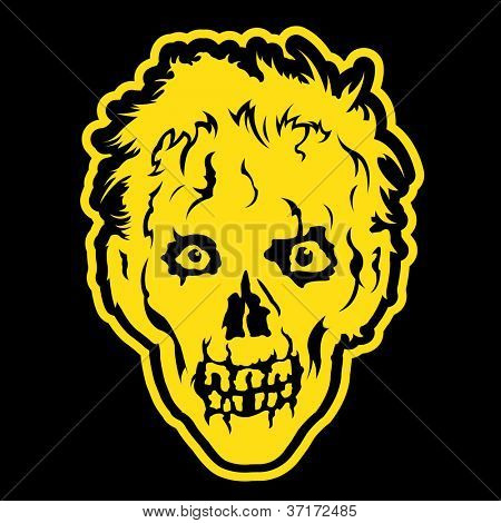 Zombie head in black background