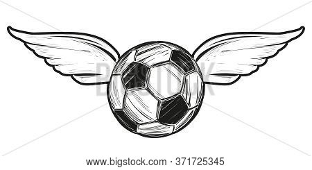 Football, Soccer Ball With Wings, Icon Sketch, Cartoon Hand Drawn Vector Illustration