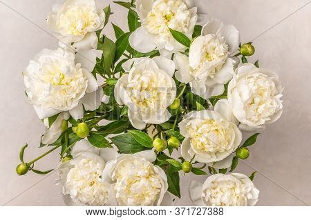 Close Up Background Of Fresh Bouquet Of White Peonies On Light Table. Selective Focus Wedding Flower
