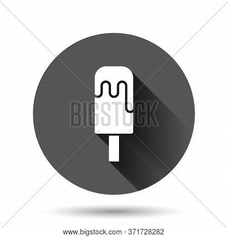 Ice Cream Icon In Flat Style. Sundae Vector Illustration On Black Round Background With Long Shadow
