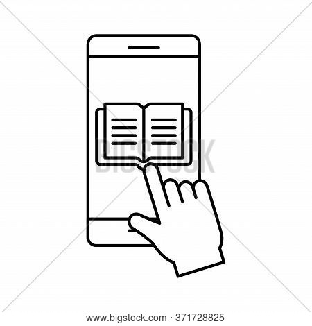 Ebook On Smartphone Silhouette Style Icon Design, Education Online And Elearning Theme Vector Illust
