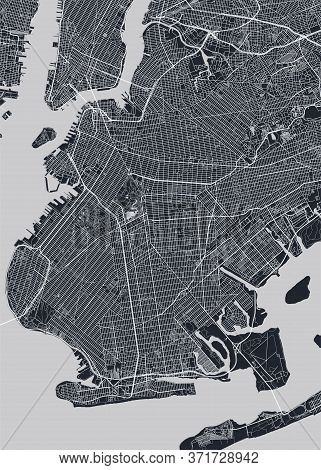 Detailed Borough Map Of Brooklyn New York City, Monochrome Vector Poster Or Postcard City Street Pla