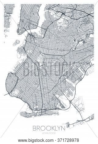 Detailed Borough Map Of Brooklyn New York City, Vector Poster Or Postcard For City Road And Park Pla