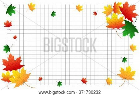 Horizontal School Background Copybook With Autumn Maple Leaves Of Red, Green, Orange, Yellow. Suitab