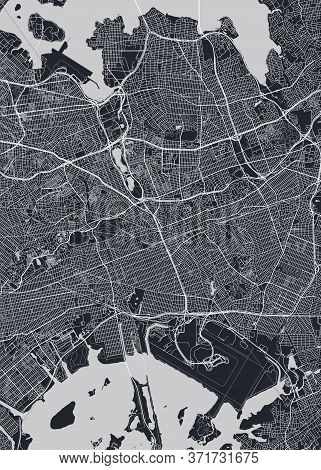 Detailed Borough Map Of Queens New York City, Monochrome Vector Poster Or Postcard City Street Plan