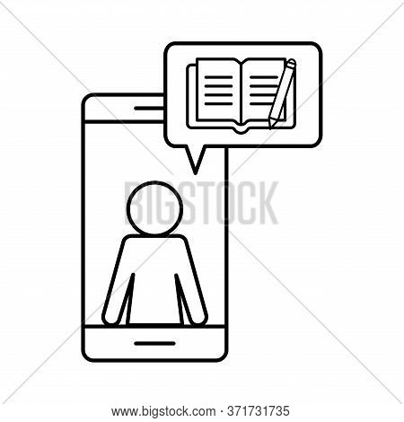 Avatar On Smartphone With Ebook Silhouette Style Icon Design, Education Online And Elearning Theme V