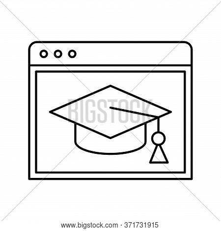 Website With Graduation Cap Silhouette Style Icon Design, Education Online And Elearning Theme Vecto