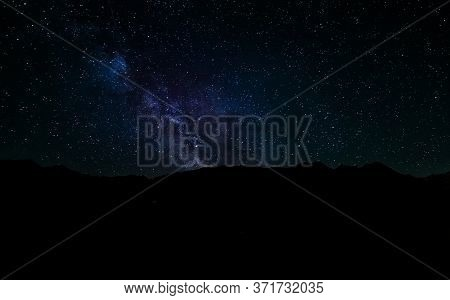 Milky Way Over Mountain, Sky In The Night  Full Of Stars