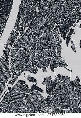 Detailed Borough Map Of The Bronx New York City, Monochrome Vector Poster Or Postcard City Street Pl