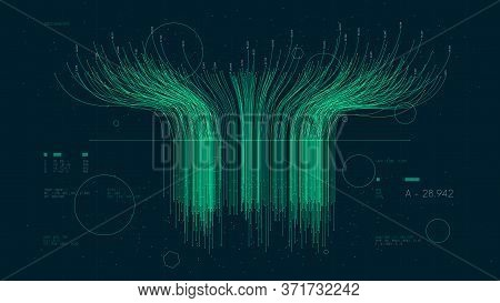 Futuristic Technology Big Data Sorting, Information Artificial Neural Network, Vector Illustration