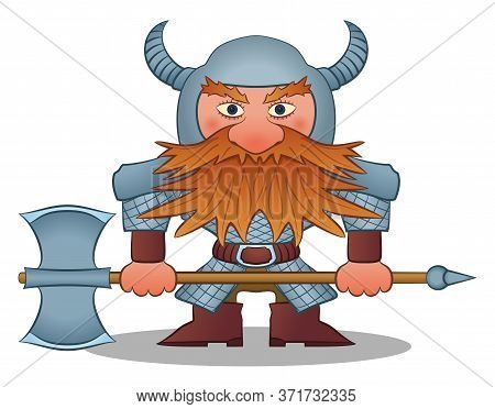 Dwarf, Redhead Warrior In Armor And Helmet Standing With Battle Ax, Funny Comic Cartoon Character. V