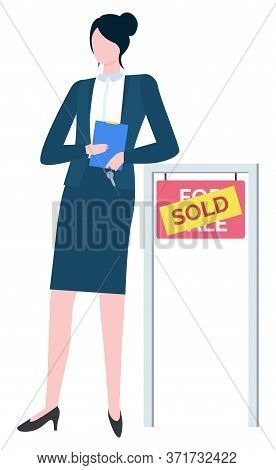 Broker Real Estate Agent In Suit With Board For Sale And Sold. Vector Consultant On Rent, Business R