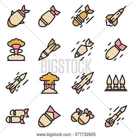 Missile Attack Icons Set. Outline Set Of Missile Attack Vector Icons Thin Line Color Flat Isolated O