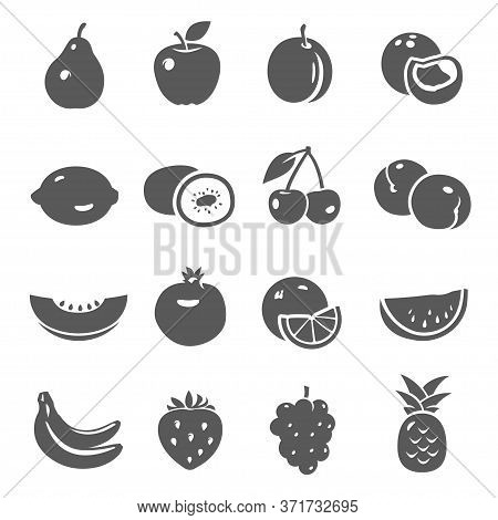 Fruits, Berries Black Silhouette Bold Icons Set Isolated On White. Pear, Apple, Plum, Peach Pictogra