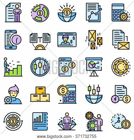 Estimator Icons Set. Outline Set Of Estimator Vector Icons Thin Line Color Flat Isolated On White