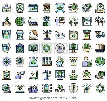 Ecologist Icons Set. Outline Set Of Ecologist Vector Icons Thin Line Color Flat Isolated On White