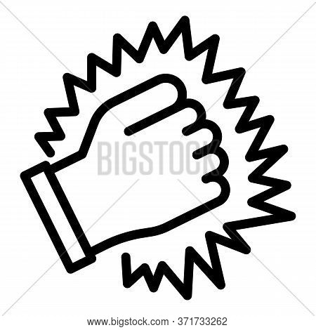 Knock Fist Icon. Outline Knock Fist Vector Icon For Web Design Isolated On White Background