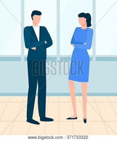 Man And Woman Wearing Formal Clothes Vector, Businesswoman And Businessman In Office. Workplace For