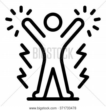 Winner And Lightning Icon. Outline Winner And Lightning Vector Icon For Web Design Isolated On White