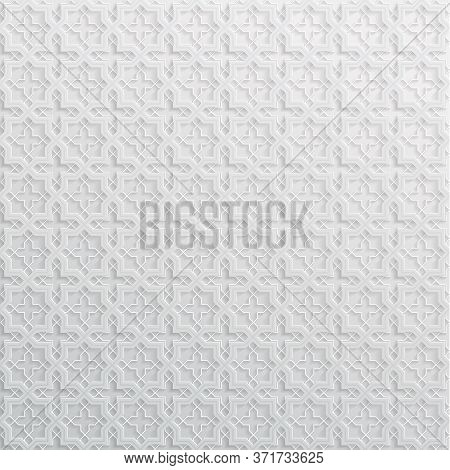 Light Abstract Vector Background In Arabian Style Made Of Emboss Geometric Shapes With Shadow. Islam