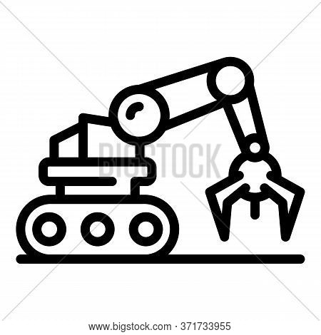 Robotic Arm Icon. Outline Robotic Arm Vector Icon For Web Design Isolated On White Background