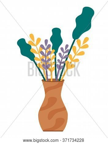 Plants In Brown Vase Isolated On White Background. Bunch Of Leaves And Spikes Stand In Vessel With W