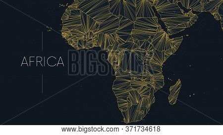 Polygonal Map Of The African Continent With Nodes Linked By Lines, Vector Global Network Concept Pos