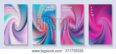 Fluid Gradient Spiral Scroll Cover Page Templates Vector Set. Fuzzy Brochure Front Pages Collection.