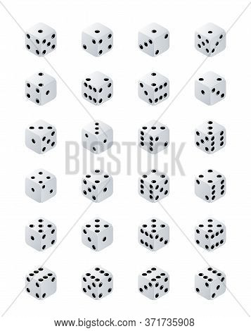 Dice Isometric. Variants White Game Cubes Isolated On Transparent Background. White Poker Cubes Vect